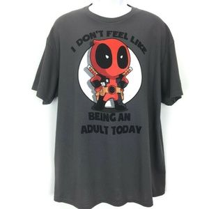 Marvel XL Gray T Shirt Mens Don't Feel Adult Today
